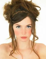 trendy bridesmaid updo with long side bangs.jpg