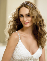 Wedding down hair with full waves with pretty crystal headband and long wavy side bangs.PNG