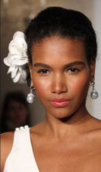 Elegant black women wedding hairstyle with large white flower hairclip.PNG