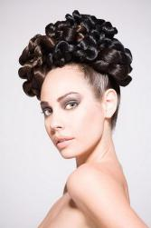 fashion bride updo with tight small rolls