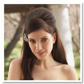elegant half updo wedding hairstyle with hair clip.jpg