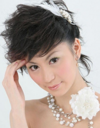 Asian short wedding hairstyles picture with hairclip.PNG