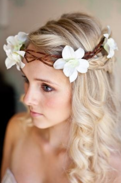 Beach bride with white flowers headbandg mightylinksfo