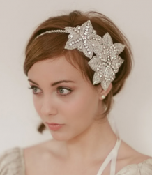 Trendy young wedding hairstyle with crystal floral headband with big flowers and short bridal hairstyle with long swept bangs.PN