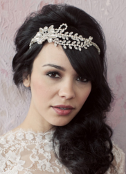 Long black hair wedding hairdo with waves with long swept bang with crystal headband.PNG