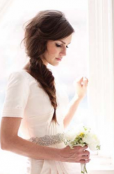 Trendy braid bridal hair with long side bang.PNG