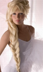 Big hair braid  wedding hairstyle with blonde hair with long bangs.PNG