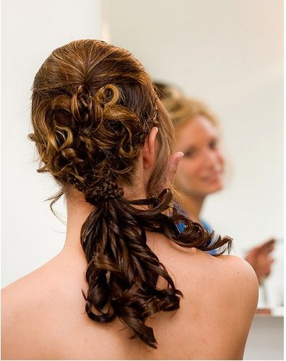 Photo of wedding updo for bridesmaid