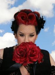 funky wedding hairstyle with theme colors of red abd black.jpg