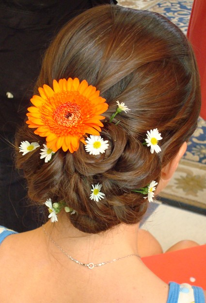 Beach Wedding Hairstyle Updo With Fresh Flowers In Orange