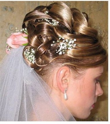 bridal updo with fresh flowers with pink roses and small white flowers.jpg