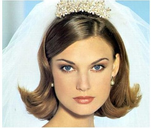 Prime Bob Short Bridal Hairstyle With Tiara And Veil Hairstyles For Men Maxibearus