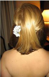 loose wedding hairstyle for short hair with floral hair clip.jpg