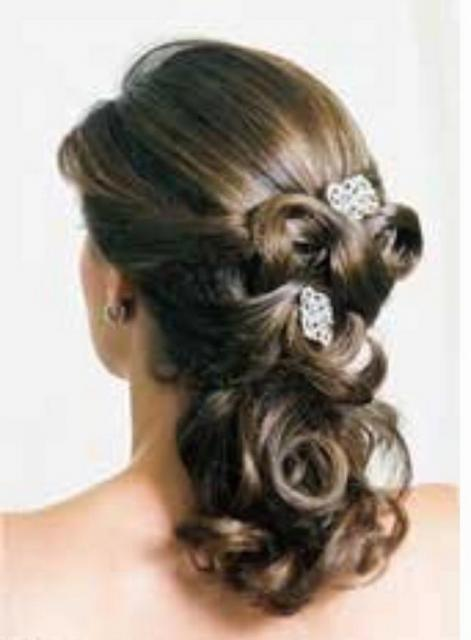 Photo of curly half updo for wedding