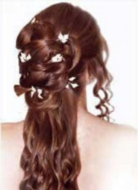Long Curly Wedding Half Updo Photo With Flower Hairclip