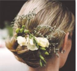 simple bride updo with fresh flowers in white.jpg