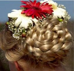 braid wedding hair updo with fresh flowers in white and red.jpg