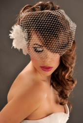 Stylish classic bride hair with white feather floral hairclip with net.PNG