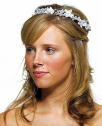 Young bride weding hairstyle with half up hairdo with floral head band.PNG