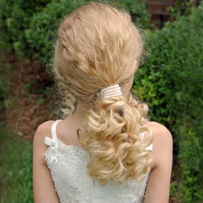 flowergirl hairstyles. Flower Girl Pearl Half Down