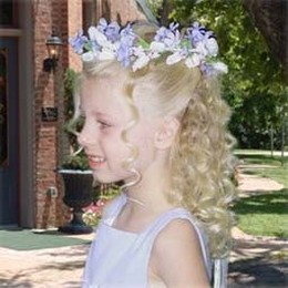 Halo Flower Girl Hairstyle With Curly Hair Jpg