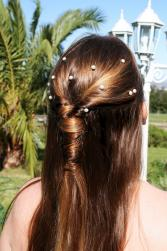 Simple and pretty half updo bridesmaid hairstyle picture looking very natural.jpg