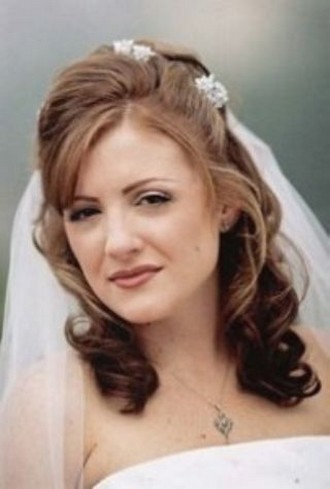half up half down wedding hair styles with big curls