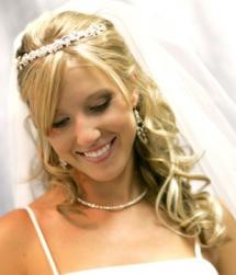 curly half up half down bridal hair