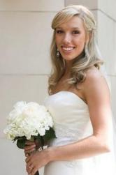 Ice blonde wedding half updo hairstyle with side bang with light curls.JPG