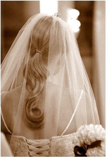 simple bridal half updo with veil photojpg