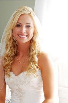 Beautiful Curls Blonde Bride Hairstyle With Veil And