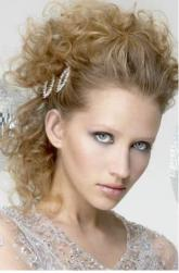 Curly medium bridal hairstyle with beautiful crystal hairclilps images.JPG