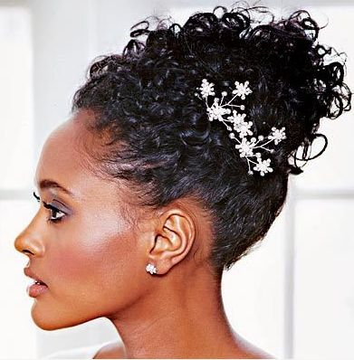 Black women wedding hairstyle with curls and a beautiful crystal ...