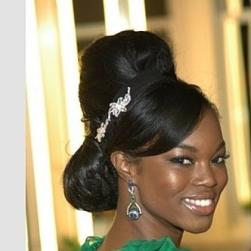 elegant black women hairstyle with pretty crystal hairclip image.JPG