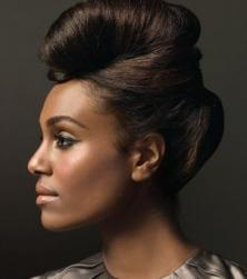 Modern black high updo pictures.JPG