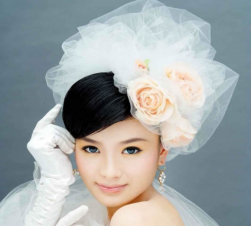 Asian wedding hairstyle 2015 with puffy veil and peach roses hairclips.PNG