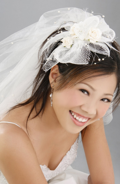 2015 long Asian bride hairdo with floral hairclips and veil.PNG