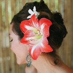 Beach bridal hairstyle with very big orange red flower image.JPG