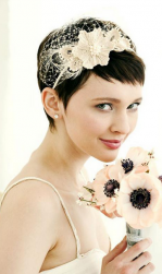 Very short bridal hair with floral head band with long bangs.PNG