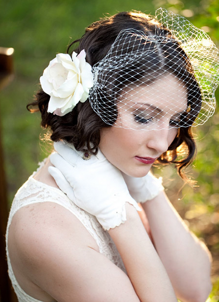 ... of Curly bob wedding hairstyle w/ large flower hair clip in whte
