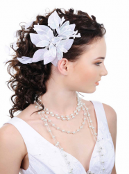 Curly wedding hairstyle with half up hairdo with large floral hairclip pictures.PNG