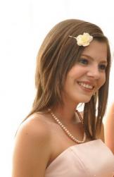 Bridesmaid hairstyle hair down with floral hairclip.JPG