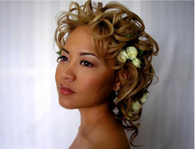 Super Asian Wedding Curly Updo With White Roses And Curl Bangs In Blonde Schematic Wiring Diagrams Amerangerunnerswayorg