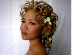 Asian wedding curly updo with white roses and curl bangs in blonde high lights.JPG