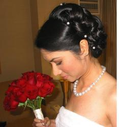 Asian wedding hair updo with pearl hair clips and side bang picture.JPG