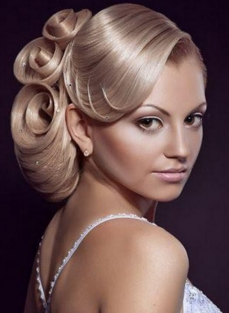 Beautiful Wedding Hairstyle With Rose Shape Hair And Straight Swept