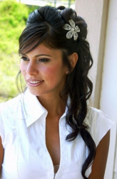 Half updo wedding hairdo with straight side bang with big crystal floral hair clip.PNG