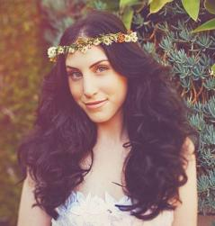 Beacy wedding hairstyle with curls and wavies top with a pretty flower crown.JPG