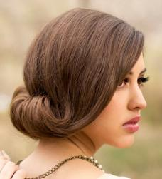 Unique wedding hairstyle with chignon curve with long side bang.JPG