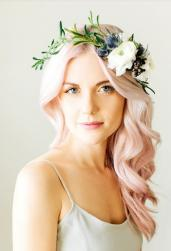 Pink wedding hair with fresh flowers crown.JPG